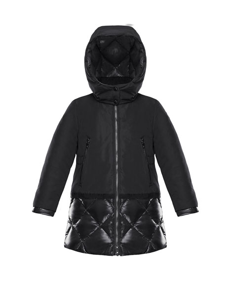 Moncler Sibylle Quilted-Hem Hooded Jacket, Size 4-6 and