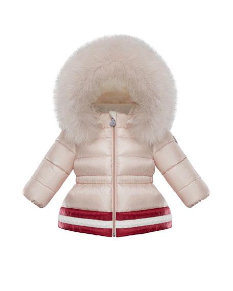 Moncler Clotilde Contrast-Hem Puffer Jacket w/ Fur Trim,