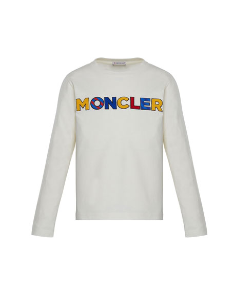 Moncler Long-Sleeve Tee w/ Multicolor Logo, White, Size