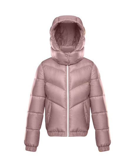 Adelie Puffer Jacket w/ Hood, Light Pink, Size 4-6