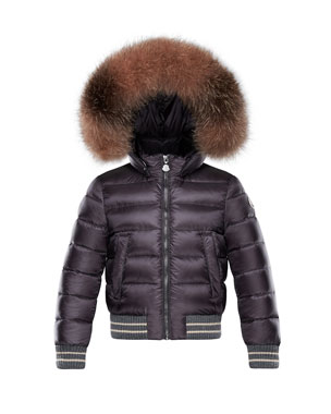 e8fa9a04b39 Moncler Arabelle Quilted Ribbed-Trim Puffer Jacket w  Fur Detail