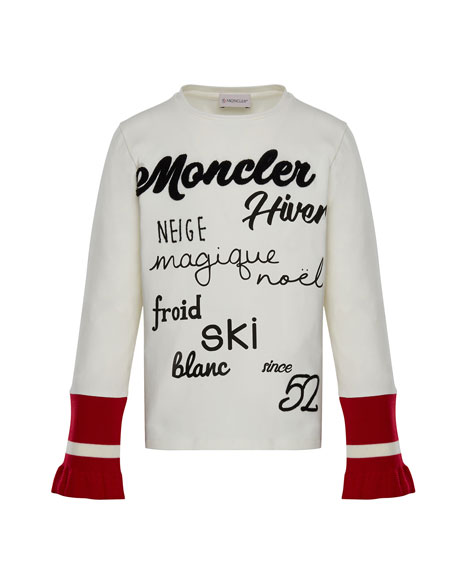 Moncler Long-Sleeve Script T-Shirt w/ Contrast Cuffs, White,