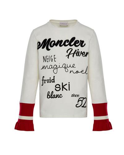 Long-Sleeve Script T-Shirt w/ Contrast Cuffs, White, Size 4-6