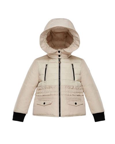 Adonise Two-Tone Ruffle-Trim Hooded Jacket, Size 8-14