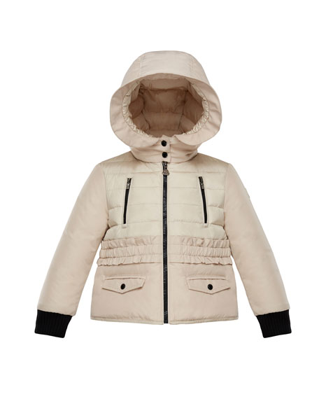 Moncler Adonise Two-Tone Ruffle-Trim Hooded Jacket, Size 8-14