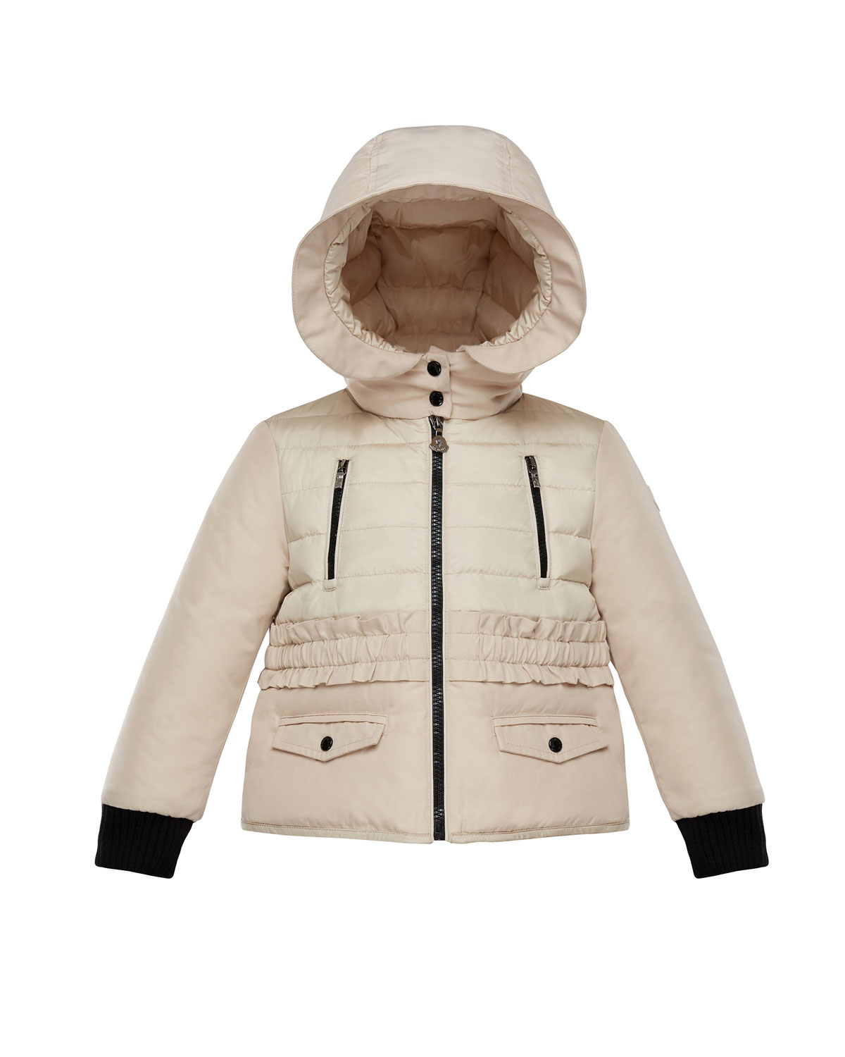 Adonise Two-Tone Ruffle-Trim Hooded Jacket, Size 4-6