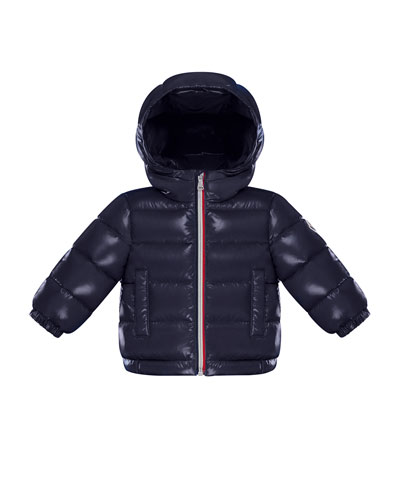 New Aubert Puffer Jacket w/ Tricolor Zipper, Navy, Size 12M-3T