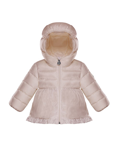 Odile Ruffle-Trim Puffer Jacket, Light Pink, Size 12M-3T