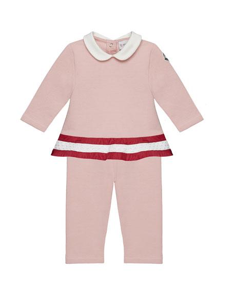 Long-Sleeve Peplum Top & Pants Set, Light Pink, 12M-3T