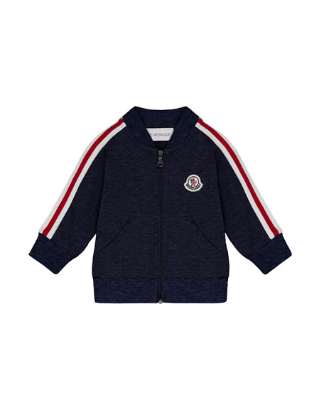 Stripe-Sleeve Zip-Up Cardigan, Navy, Size 12M-3T