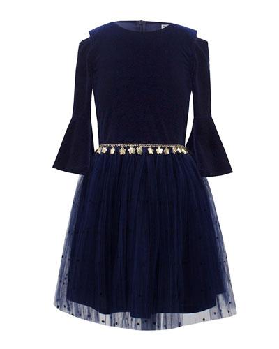 Velour Bell-Sleeve Dress w/ Dotted Mesh Skirt, Size 10-16