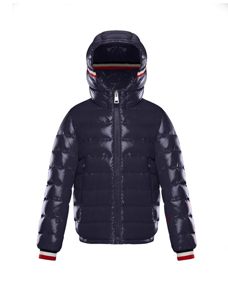 Alberic Puffer Jacket w/ Flag Details, Navy, Size 4-6
