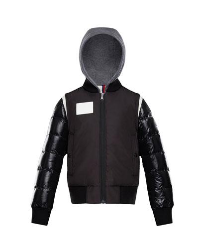 Montpellier Mixed-Media Hooded Jacket, Size 4-6