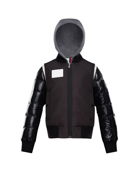 Moncler Montpellier Mixed-Media Hooded Jacket, Size 4-6