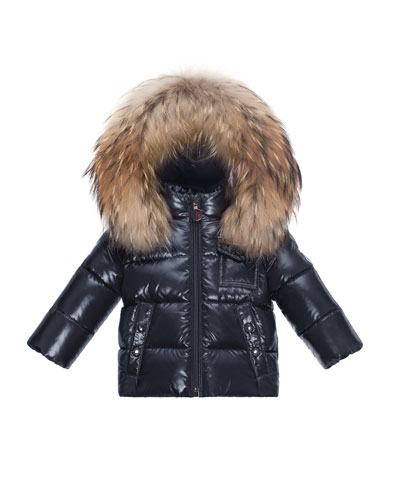K2 Hooded Fur-Trim Puffer Jacket, Navy, Size 12M-3T