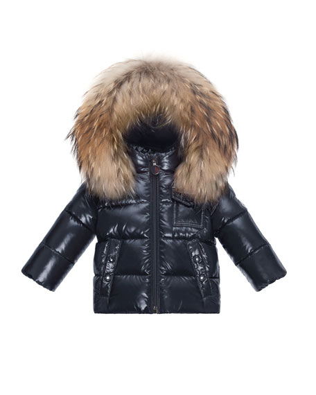 K2 Hooded Fur-Trim Puffer Jacket, Navy, Size 12M-3T