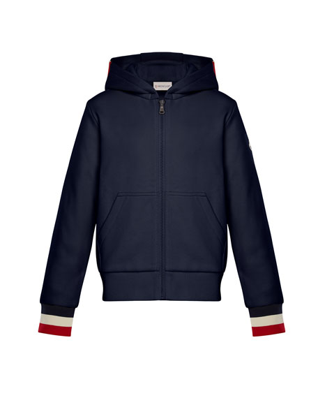 Moncler Hooded Zip-Up Cardigan w/ Tricolor Cuffs, Navy,