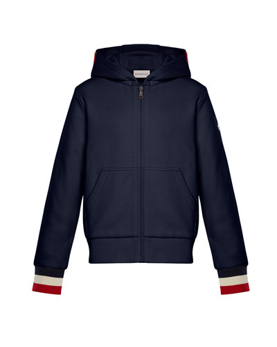 Hooded Zip-Up Cardigan w/ Tricolor Cuffs, Navy, Size 4-6