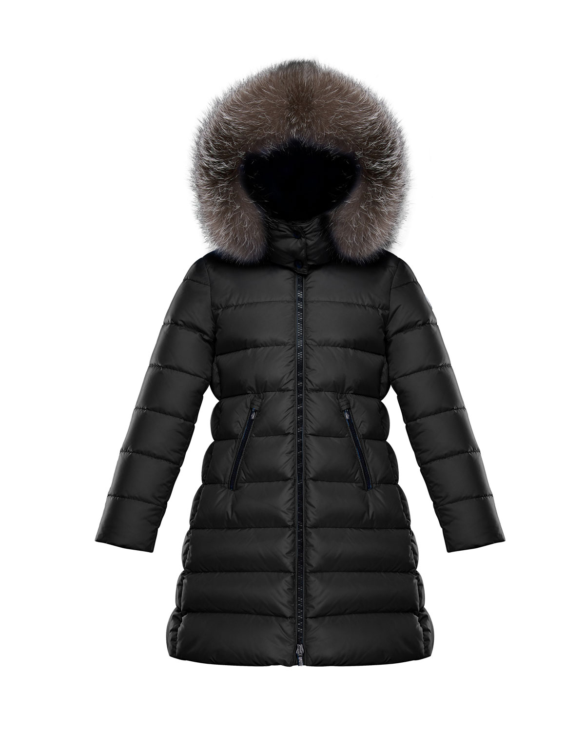 Abelle Quilted Puffer Coat w/ Fur Trim, Size 8-14