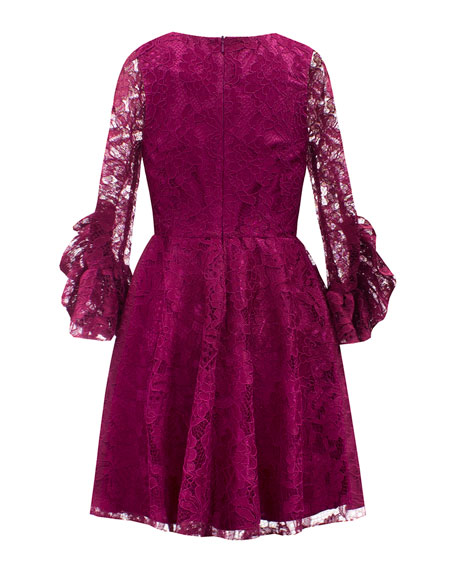 Lace Ruffle-Sleeve Fit-&-Flare Dress, Size 10-16