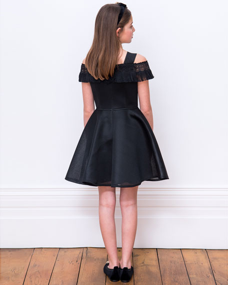 Off-the-Shoulder Fringe-Trim Mesh Fit-&-Flare Dress, Size 10-16