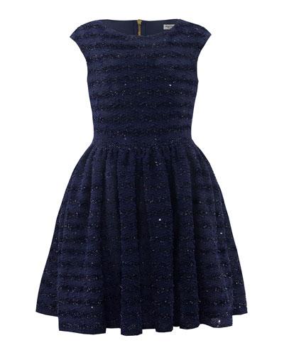 Boucle Lurex Cap-Sleeve Fit-&-Flare Dress, Size 10-16