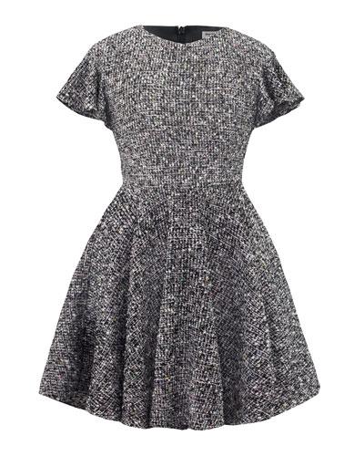 Ruffle-Sleeve Tweed Lurex Dress, Size 10-16