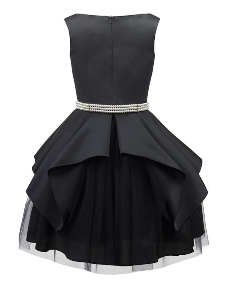 Satin & Tulle Sleeveless Dress w/ Pearly Belt, Size 10-16