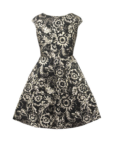 Metallic Brocade Satin-Back Dress, Size 10-16