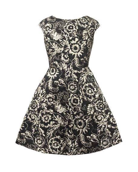 David Charles Metallic Brocade Satin-Back Dress, Size 10-16