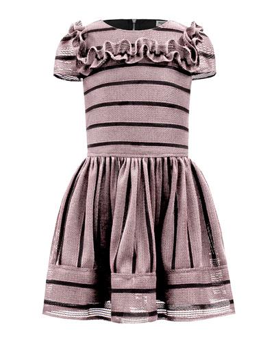 Techno Stripe Ruffle-Trim Dress, Size 3-12