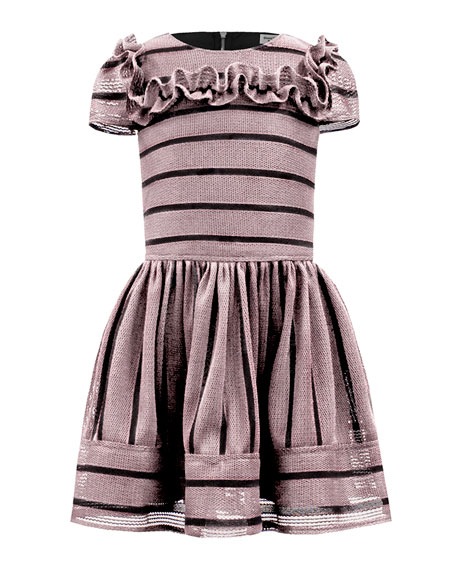 David Charles Techno Stripe Ruffle-Trim Dress, Size 3-12