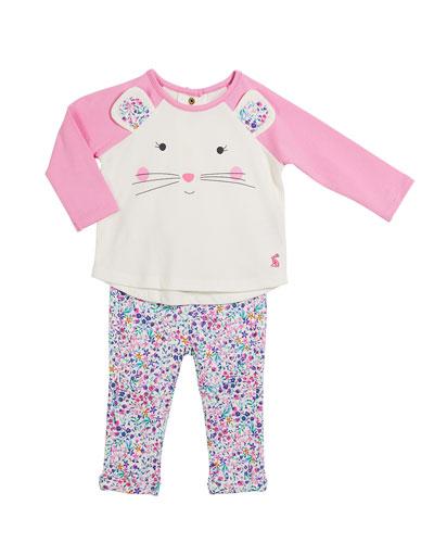 Amalie Mouse Long-Sleeve Top w/ Floral Pants, Size 3-24 Months