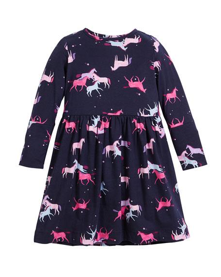 Alina Unicorn-Print Long-Sleeve Dress, Size 2-6