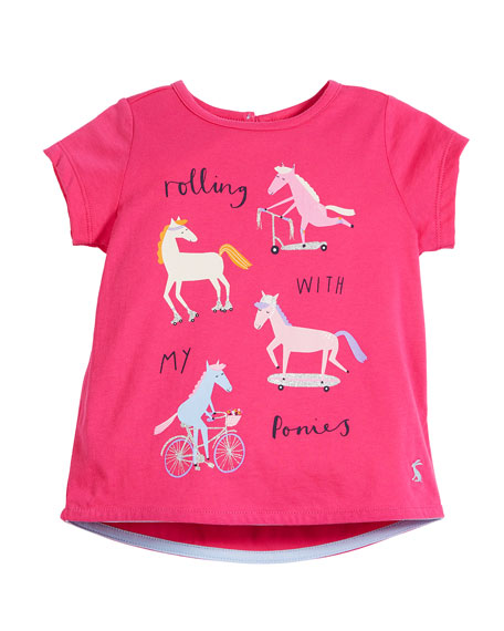Joules Pixie Rolling Ponies Short-Sleeve Tee, Size 2-6
