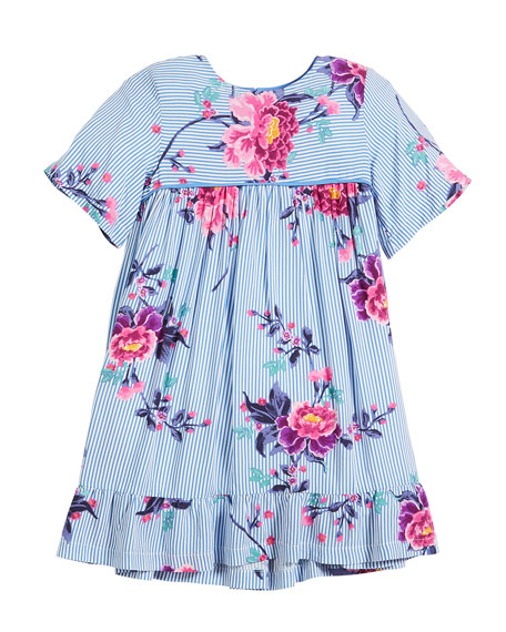Judy Striped & Floral Short-Sleeve Dress, Size 2-6