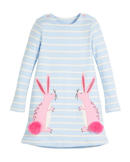 Joules Kaye Long-Sleeve Striped Dress w/ Rabbit Appliques,