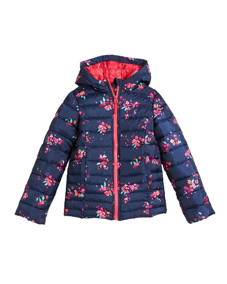 Kinnaird Hooded Floral-Print Quilted Jacket, Size 3-10