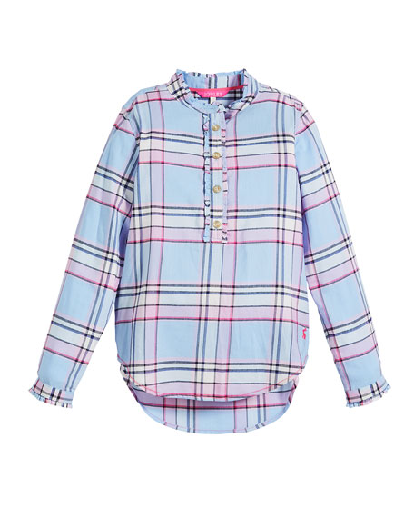 Joules Corin Plaid Ruffle-Trim Blouse, Size 3-10