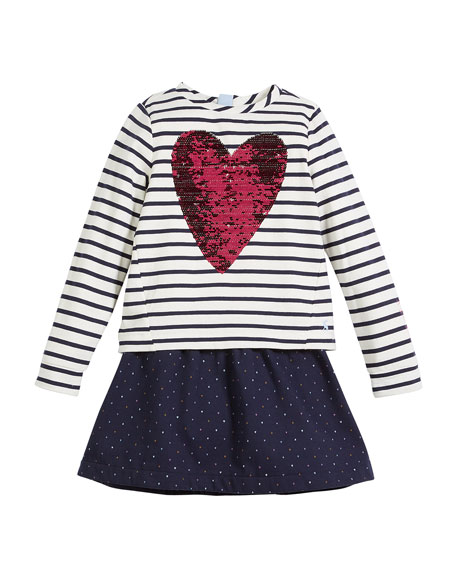 Joules Lucy Sequin-Heart Striped & Polka-Dot Dress, Size