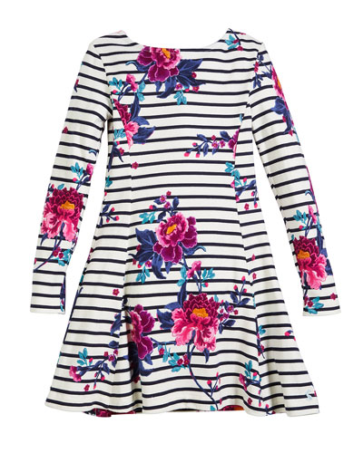 Erin Striped & Floral Long-Sleeve Dress, Size 3-10