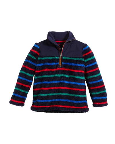 Woozle Striped Half-Zip Fleece Pullover, Size 2-6