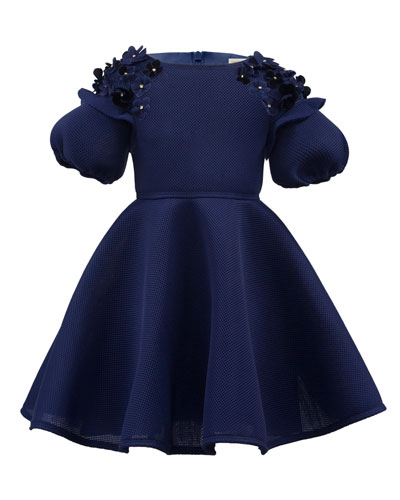 Mesh Techno Puffy-Sleeve Dress w/ 3D Flowers, Size 3-8