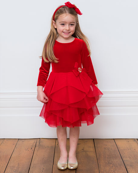 Velour & Techno Long-Sleeve Dress, Size 3-8
