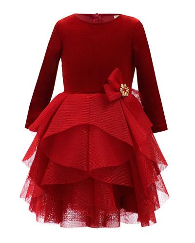 Velour & Techno Long-Sleeve Dress, Size 3-8