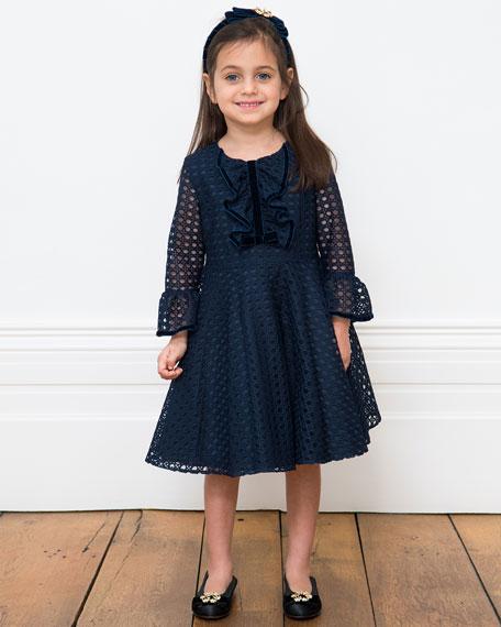 Basket-Weave Long-Sleeve Dress, Size 6-12