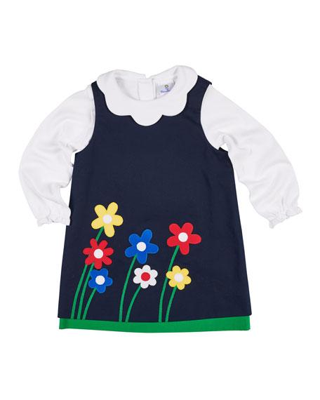 Twill Flower Applique Dress w/ Scallop-Collar Top, Size 2-6X