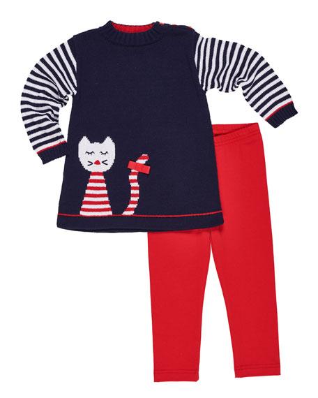 Florence Eiseman Knit Cat Intarsia Tunic w/ Matching