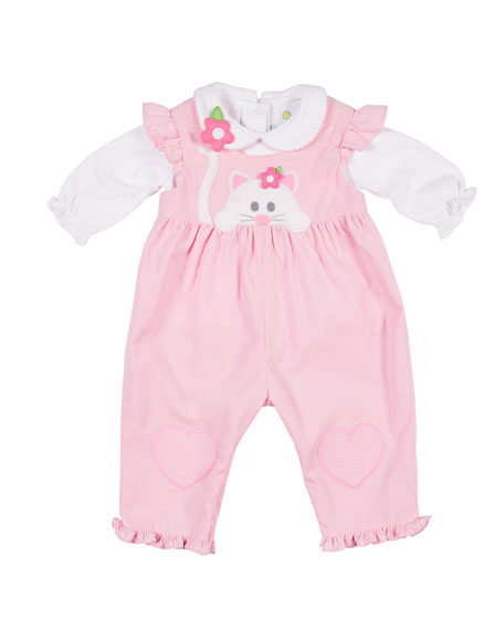 Corduroy Ruffle Cat Applique Overalls w/ Long-Sleeve Top, Size 3-24 Months