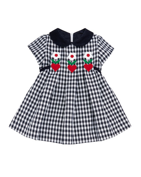 Twill Check Hearts & Flowers Dress, Size 3-24 Months